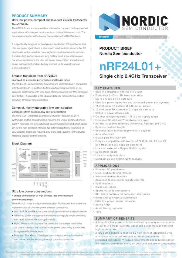 Envoi De Donn 233 Es Par Signal Radio Module Radio Nrf24l01